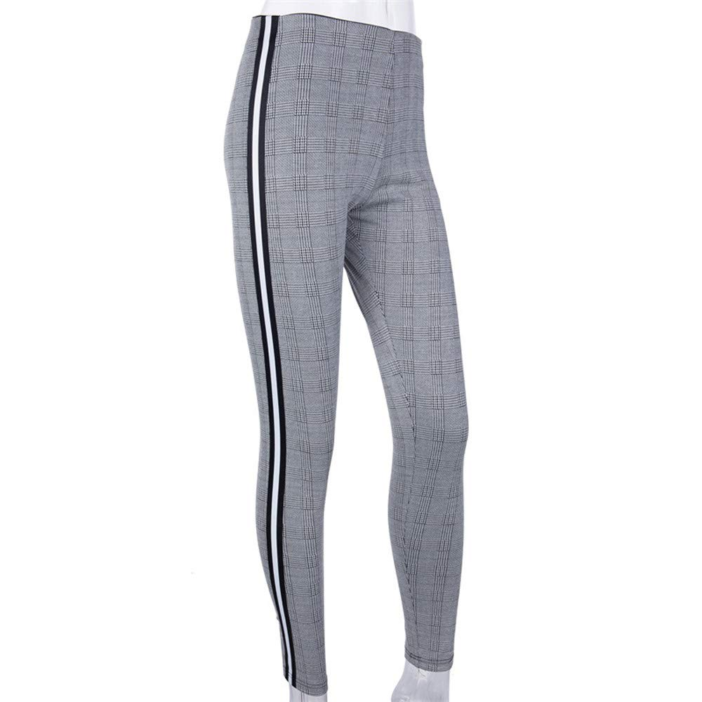 f7edd4afd5537f Women Casual Pants, Slim High Waist Stripe Leggings Trimmings Houndstooth  Work wear Slim Skinny Pants Trousers at Amazon Women's Clothing store: