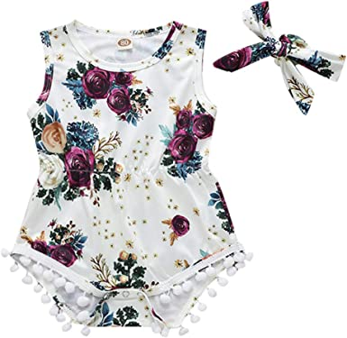 Floral Newborn Kids Baby Girl Romper Jumpsuit Bodysuit Headband Clothes Outfits