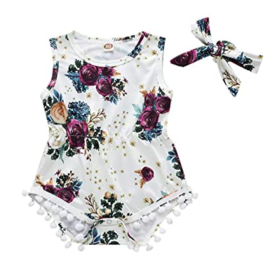 f58032e416e Amazon.com  Riverdalin Infant Baby Girl Summer Outfit Floral Print Sleeveless  Tassel Romper Playsuit Jumpsuit Bodysuit with Headband  Clothing