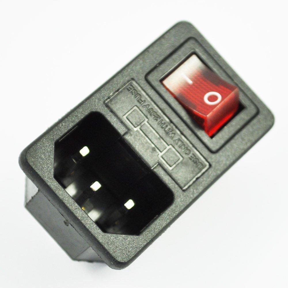 SODIAL(R) Enchufe de Corriente Entrada Macho con Interruptor Fusible 10A 250V 3 Pin IEC320 C14 006216