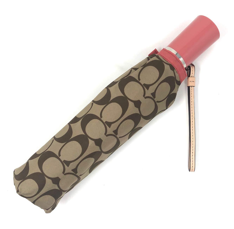 Coach Signature Umbrella w/Leather Wrist Strap, F63364 (Coral/Silver)