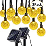 solar crystals - Lumitify 2 Pack Globe Solar String Lights, 19.7ft 30 LED Fairy Crystal Ball Christmas Lights, Outdoor Decorative Solar Lights for Home, Garden, Patio, Lawn, Party and Holiday(Warm White)