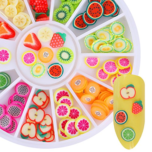 1 Set Polymer Clay Tiny Fimo Fruit Sparkle Slices Nail Art Rhinestone In Wheel 3D Colorful 12-Patterns Ornaments Decorations DIY Manicure Nails Tools Tips Kits Stylish Popular Xmas Holidays Tool Kit