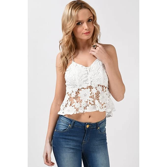 Ganchillo Peplum Cami Top en color blanco