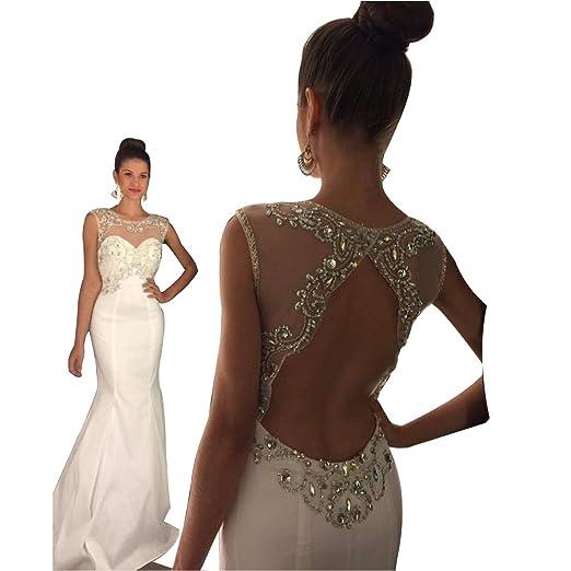 3bb5ddd9a4 MOON Women s Jewel Mermaid Sleeveless Back Hole Satin Zipper Prom Dress  White US2