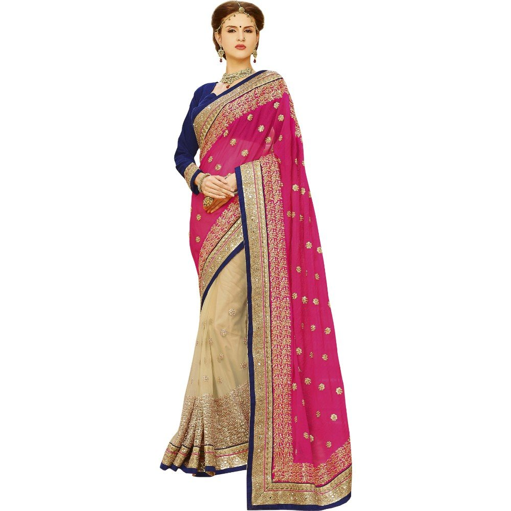Pyxbe Fancy Women`S Party Wear Silk And Net Saree With Unstitched Blouse Piece Matiral