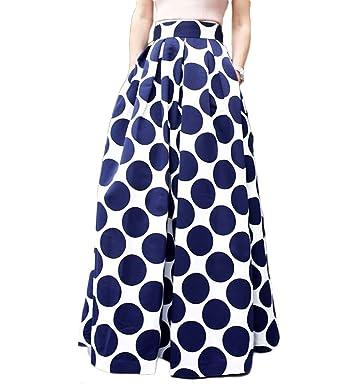 7b2c85711bb Persun Women White Contrast w/Blue Polka Dot Print Maxi Skater Skirt, 3X-