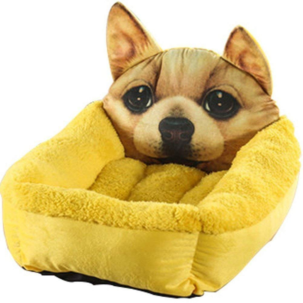 IANXI Home Super Soft 3D Pattern Print Pet Dog Puppy Cat Bed Mat(Yellow S 40  50cm) for Cat Dog