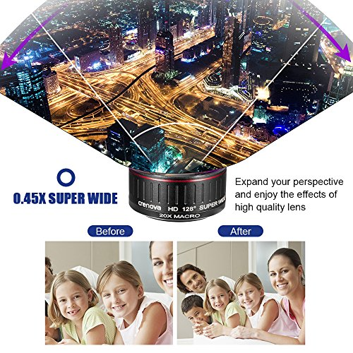 Crenova Phone Camera Lens Kit, 0.45x Wide Angle Lens, HD 128° Super Wide Angle 20X Macro Lens, Clips-On Cell Phone Lens for iPhone/Samsung/Android/Most Smartphones and Tablets by Crenova (Image #4)