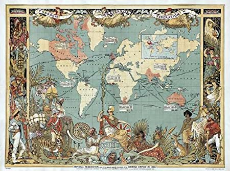 Reproduction Imperial Federation Map Of The World Showing Extent Of - Victorian world map