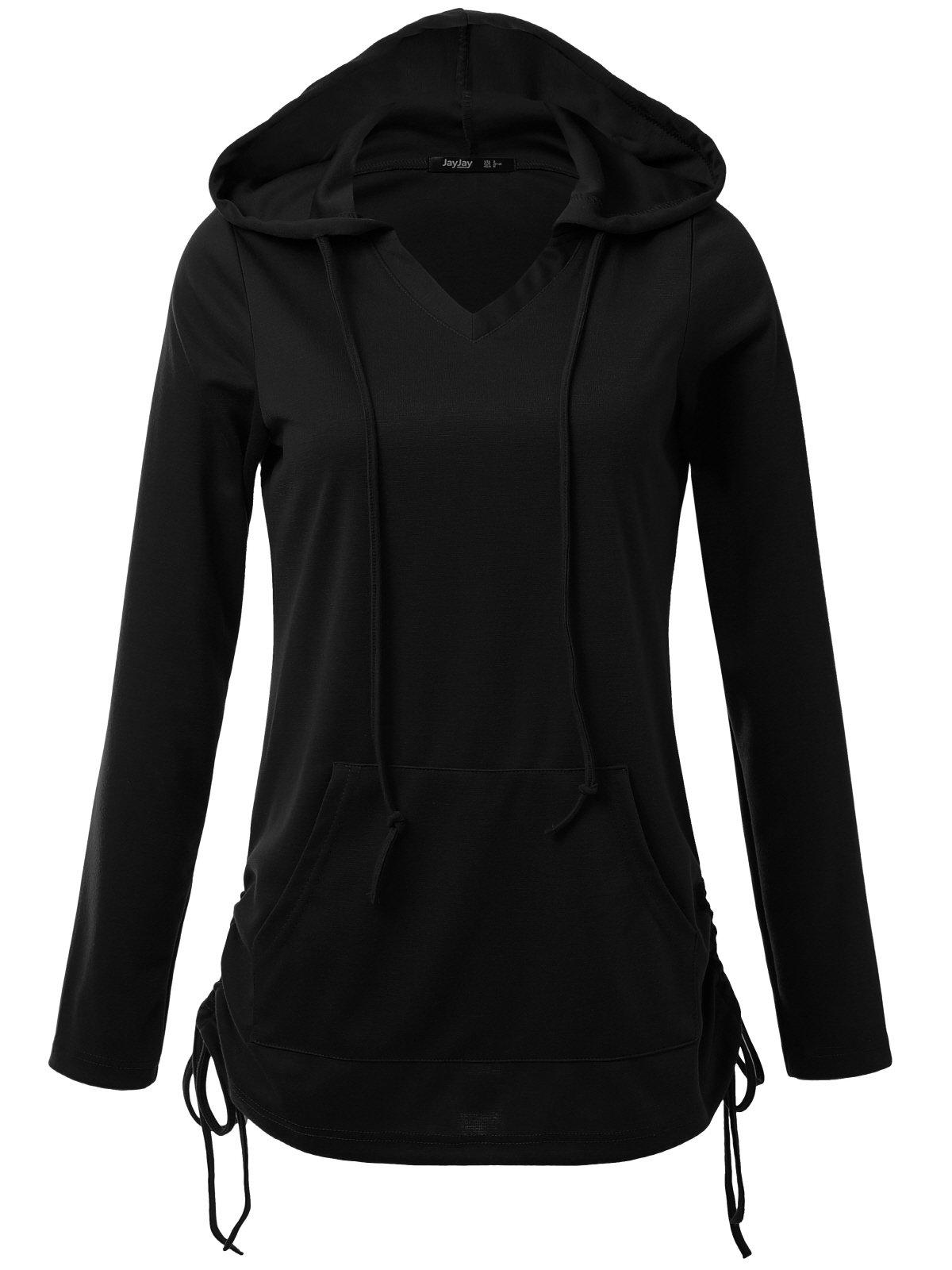 JayJay Women Lace Up Sweat Casual Long Sleeve Hoodie Lightweight Sweatshirt,Black,2XL