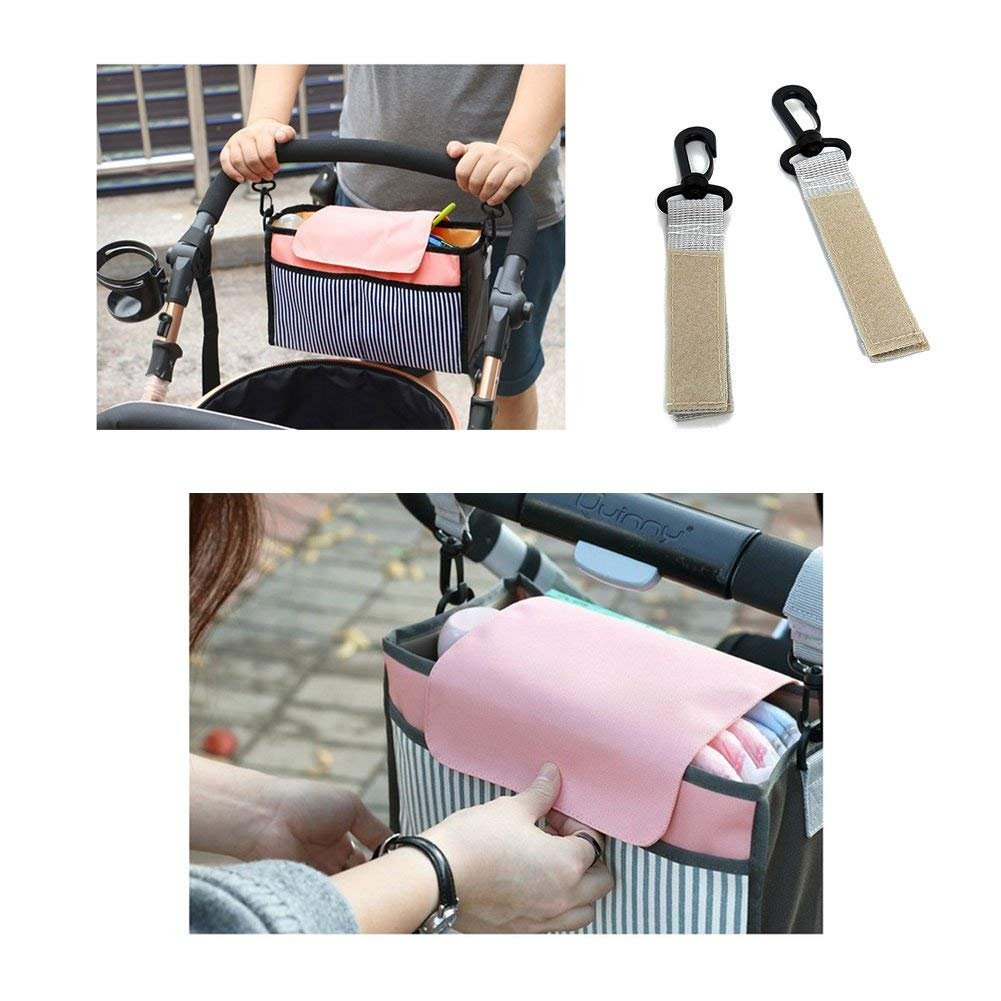 Stroller Organizer and Cup Holder - Extra-Large Storage Space for Bottle, Diapers, Clothing, Toys, iPhones, Wallets,iPads,Baby Stroller Bag-Universal Fit.