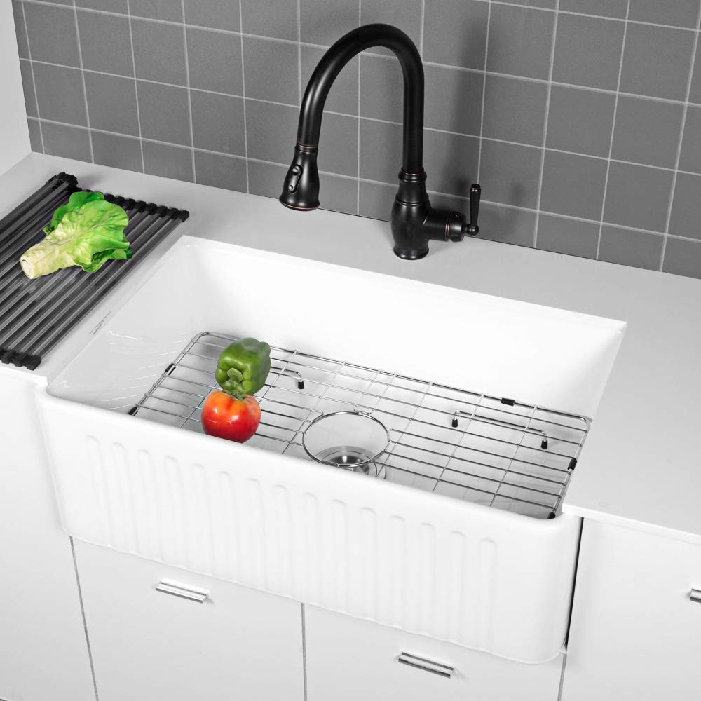 Sarlai 30'' Farmhouse Kitchen Sink White Porcelain Vitreous, SUC3018R1 Fireclay Single Bowl Kitchen Sink by Sarlai (Image #3)