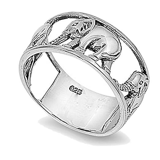 Amazoncom Sterling Silver Wedding Engagement Ring Elephant Ring