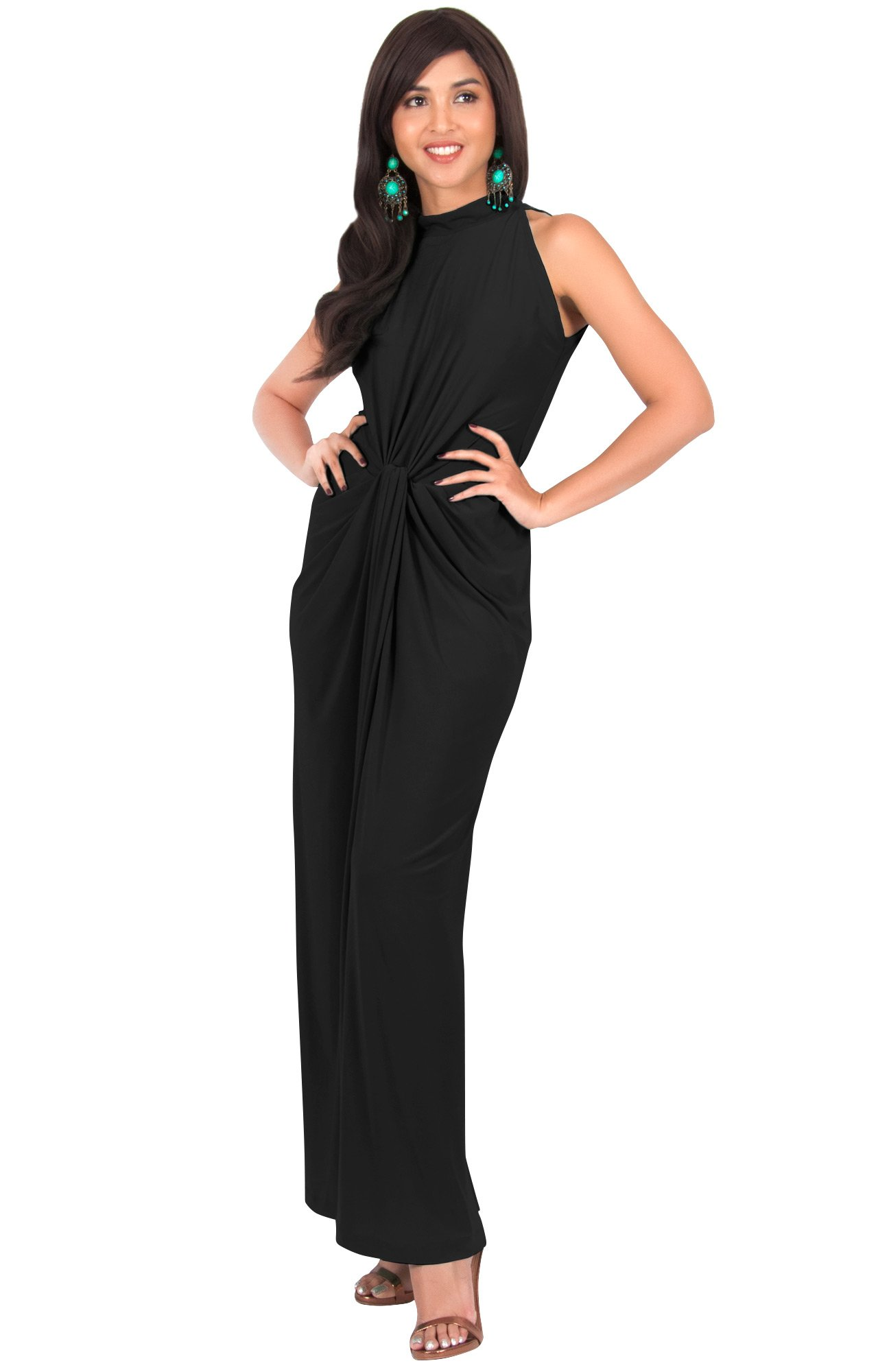 KOH KOH Womens Long Sleeveless Sexy Vintage Cocktail Slimming Party Evening Summer Sun Prom Bridesmaid Wedding Guest Sundress Gown Gowns Maxi Dress Dresses, Black L 12-14
