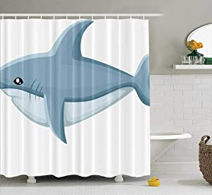 ROOLAYS Shower Curtain, Shark Web Site Page Mobile Waterproof Shower Curtain,Summer Shower Curtains,Colorful Shower Curtain 72X78 Inch