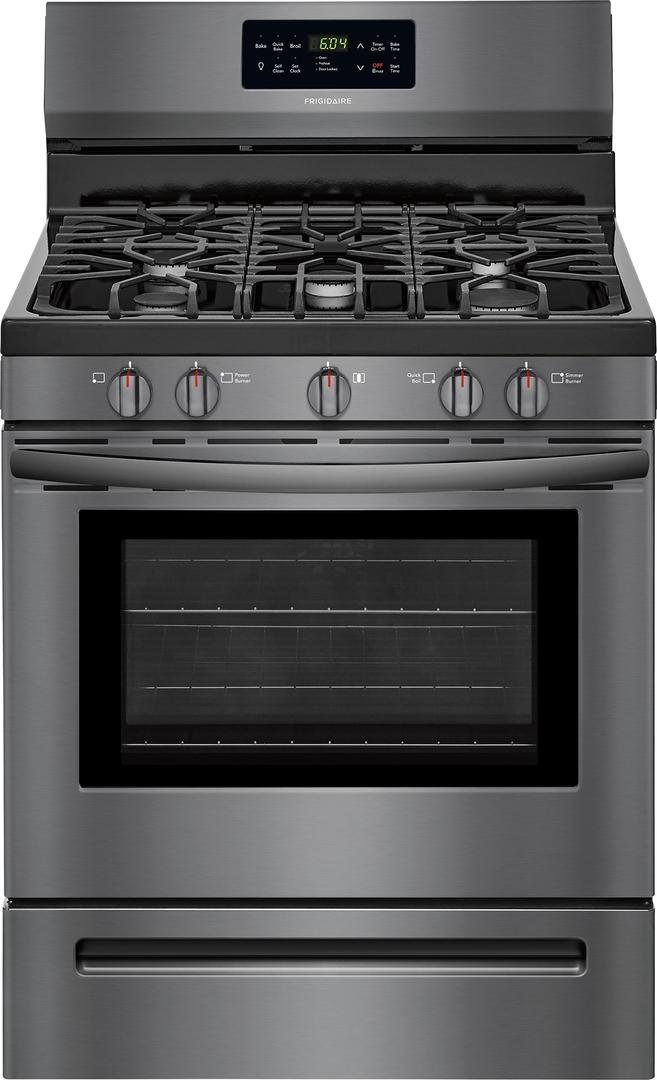 Frigidaire FFGF3056TD 30 Inch Freestanding Gas Range with 5 Sealed Burner Cooktop, 5 cu. ft. Primary Oven Capacity, in Black Stainless Steel