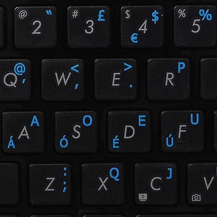Etiquetas de teclado DVORAK sobre fondo transparente con letras azul, naranja, rojo, blanco o amarillo (14 x 14) (azul)