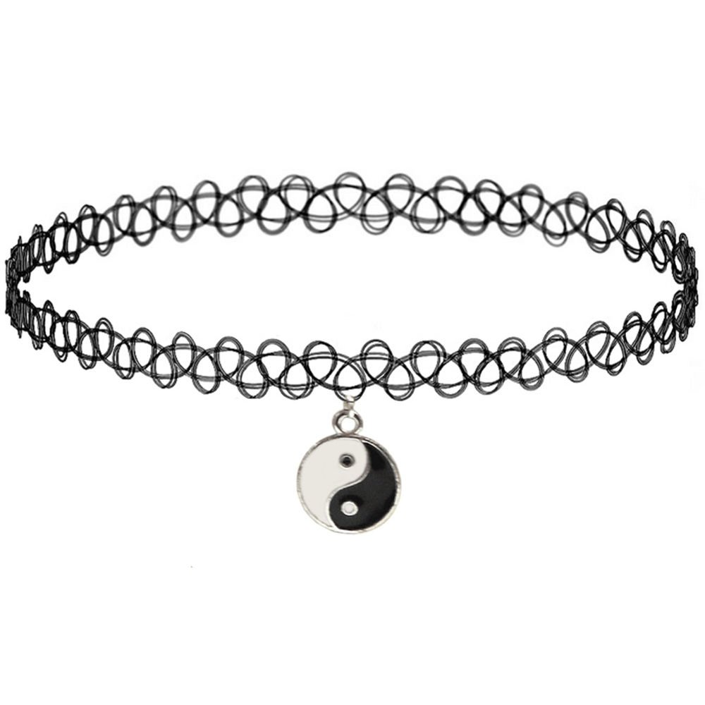 Girlprops Tattoo Choker Necklace, Yin Yang, Popular in the 80S 90S, Yin Yang Charm in Black with Silver Tone Finish
