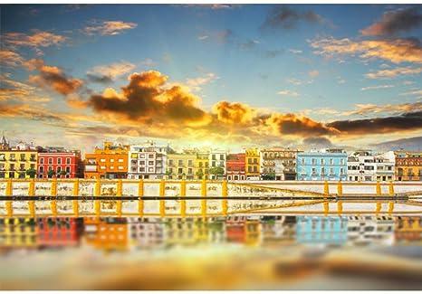 GzHQ 7x5ft Sevilla Ribera Magnífico Colorido Panorama Vinilo Fotografía Fondo Fabuloso España Paisaje Telón de Fondo Pintoresco Escenario Punto de Referencia Paisaje Urbano Estudio Apoyos: Amazon.es: Electrónica