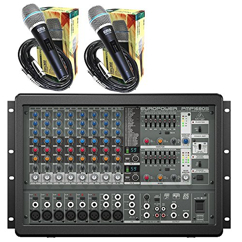 800w Powered Stereo Mixer (Behringer EUROPOWER PMP1680S 10-Channel Powered Mixer 2 x 800W Stereo 1600W Bridged Mode + 2 EMB Emic800 Microphones)