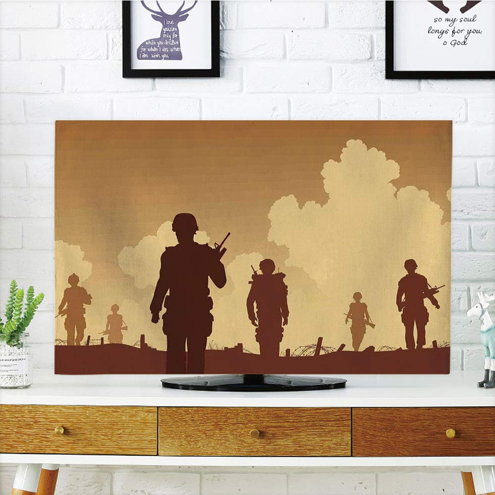 LCD TV dust Cover Strong Durability,War Home Decor,Soldier Shadows with Military Costumes and Weapons Walking on Patrol Print,Brown Cream,Picture Print Design Compatible 42'' TV