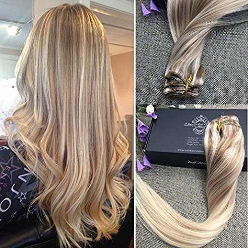 Beauty : Full Shine Full Head Best Human Hair Clip Extensions Nordic Balayage Remy Hair 14 inch 9 Pcs 120 Gram Color #18 Dirty Blonde Fading to Color #22 and #60 Platinum Blonde Clip in Extensions