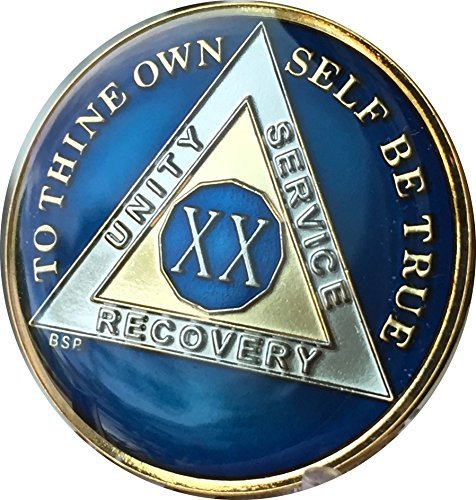 20 Year Midnight Blue AA Alcoholics Anonymous Medallion Chip Tri Plate Gold & Nickel Plated Serenity Prayer ()