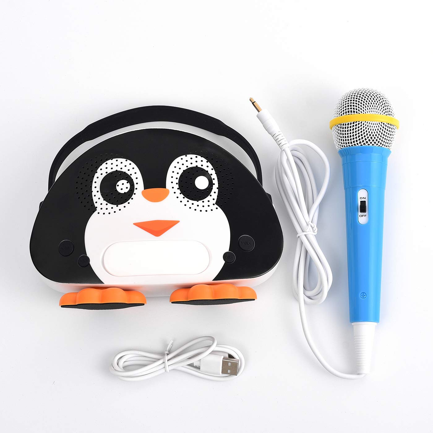 HowQ Outdoor Toys Karaoke Machine , Portable Kids Karaoke Bluetooth Speaker Wireless Cartoon Speaker for Kids for Indoor Toys Travel Activities with Microphone Penguin Karaoke Machine(Black-White) by HowQ (Image #4)