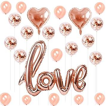 Hotchy Globo de Oro Rose, Rose Gold Wedding Love 10pcs Globos de látex 10pcs Globo de Oro de Champagne 2pcs Globos de Papel de Plata para Weeding ...