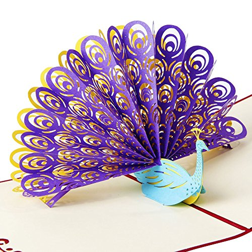 Paper Spiritz Peacock Pop up Birthday Card for Wife Husband Kids Day Card and Envelopes Handmade 3D Anniversary Wedding Cards Graduation (Purple, Showing Its (Free Happy Halloween Cards)