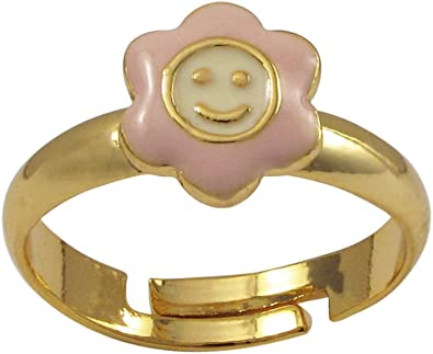 3-4 Ivy and Max Gold Finish Red and White Enamel Small Smiley Face Flower Ring
