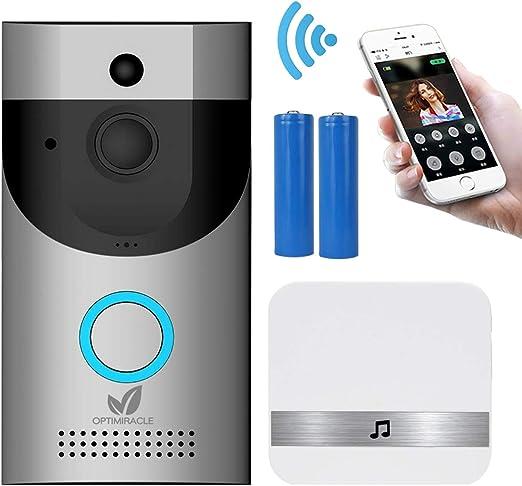Sonnette sans Fil,Exterieur cam/éra de s/écurit/é Smart 720P HD WiFi avec Conversation bidirectionnelle,CCTV 166/° IR Vision Nocturne PIR Detection Mouvement cam/éras pour iOS Android