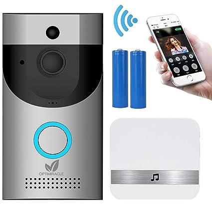Timbre Inalámbrico Videoportero WiFi interfono con camara pilas y carillón 720P HD CCTV audio bidireccional IR visión nocturna PIR detección ...