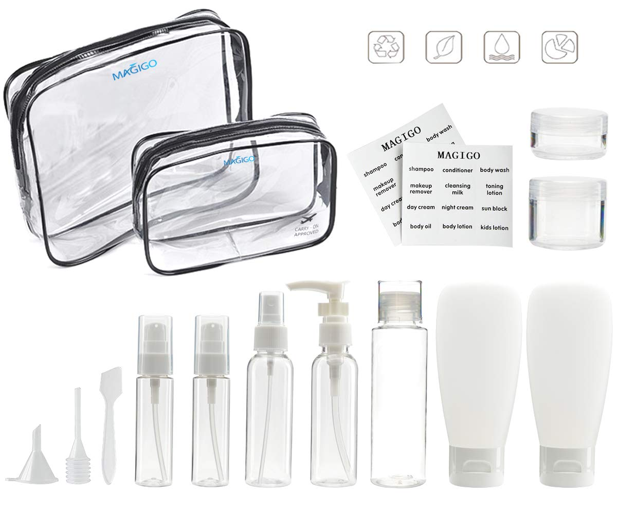 MAGIGO Toiletries Leak Proof Travel Bottle Set 15 Pack ,TSA Approved Airline Carry-On with 2 Clear Bags for Man for Women