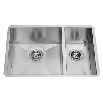 vigo 29 inch undermount 70 30 double bowl 16 gauge stainless steel kitchen sink vigo 29 inch undermount 70 30 double bowl 16 gauge stainless steel      rh   amazon com