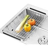 Sann regolabile Over Sink Drainer funzionale frutta, verdura e utensili da cucina colino in acciaio inox scolapiatti