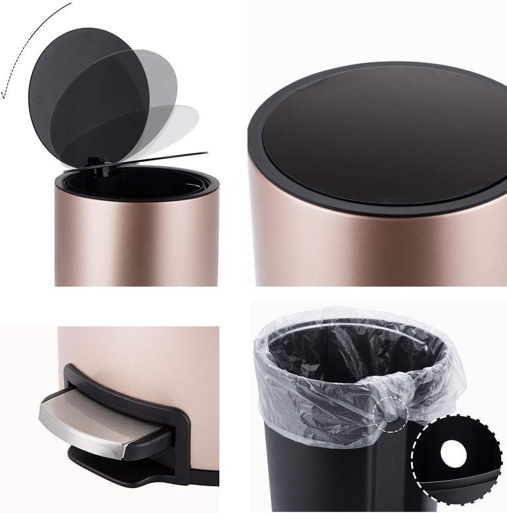 車の灰皿, ラウンド廃棄物のビン、ベーススチールベース灰皿8L / 2.1Gal(色:白)、カラー:ゴールド-2 (Color : Black)
