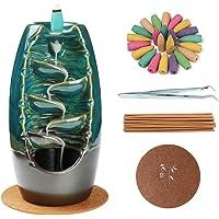 Navy Blue Incense Burner Backflow Incense Holder, Ceramic Handcrafted Backflow Incense Burner with 10PCS Incense Cones…