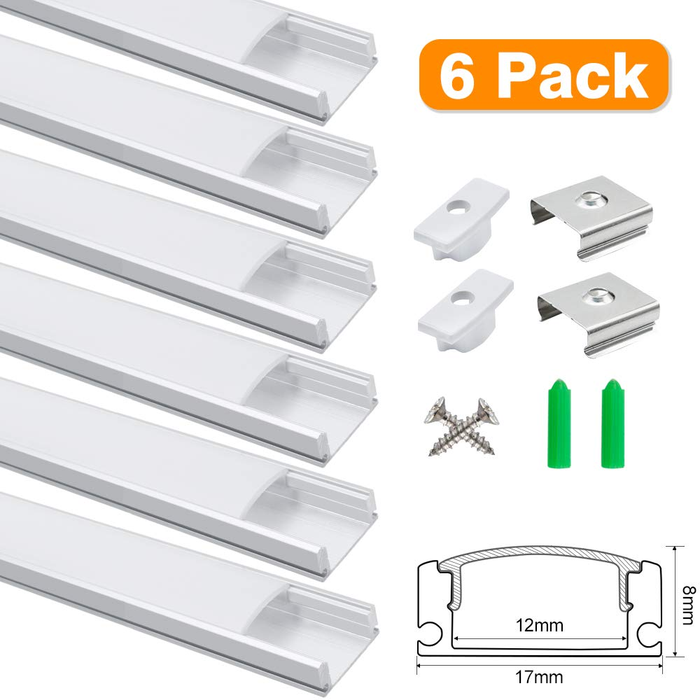 3.3ft 1Meter U-Shape 8x17mm LED Aluminum Channel System, for Interval Width 12mm LED Strip Light with Milky White Cover, Aluminum Channel with End Caps and Mounting Clips, Silver, 6Pack