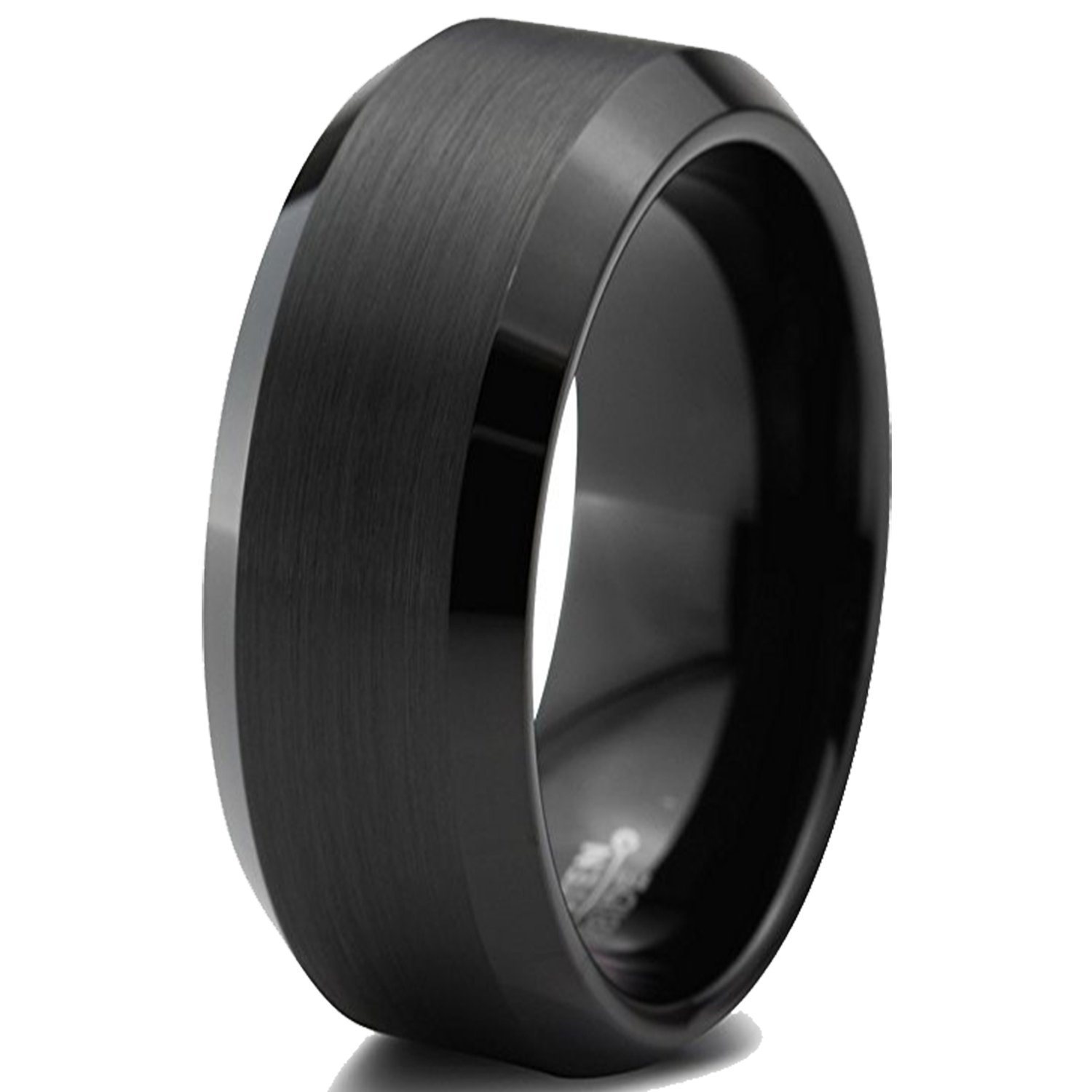 Tungsten Wedding Band Ring For Men & Women, Brushed Matte Black Engagement Ring Finish w/ Beveled Polished Edge - Durable and Comfortable 8mm Width Ring