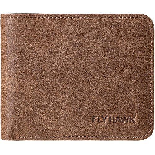 06. FlyHawk RFID Blocking Genuine Leather Wallets for Men Biford Mini&Slim Size Wallet