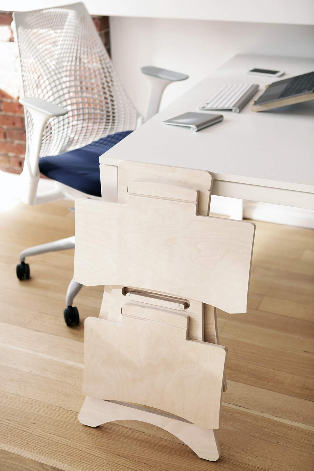 Standing Desk - Sit Stand Workstation MacBook PC Laptop Height Adjustable Natural Wood by HumbleWorks (Image #5)