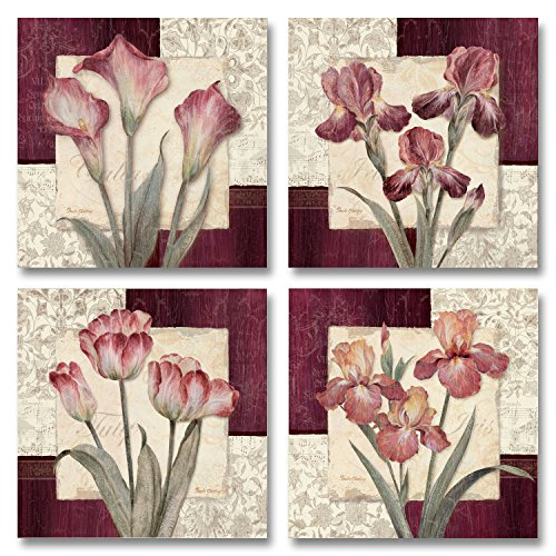 Trio Sonata I - Classic, Vintage Burgundy and Pink Flowers;