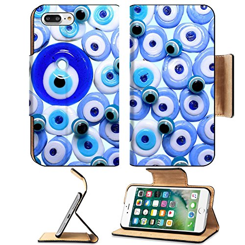 Luxlady Premium Apple iPhone 7 Plus Flip Pu Leather Wallet Case iPhone7 Plus 26821714 Evil eye amulets With Isolated White Background -