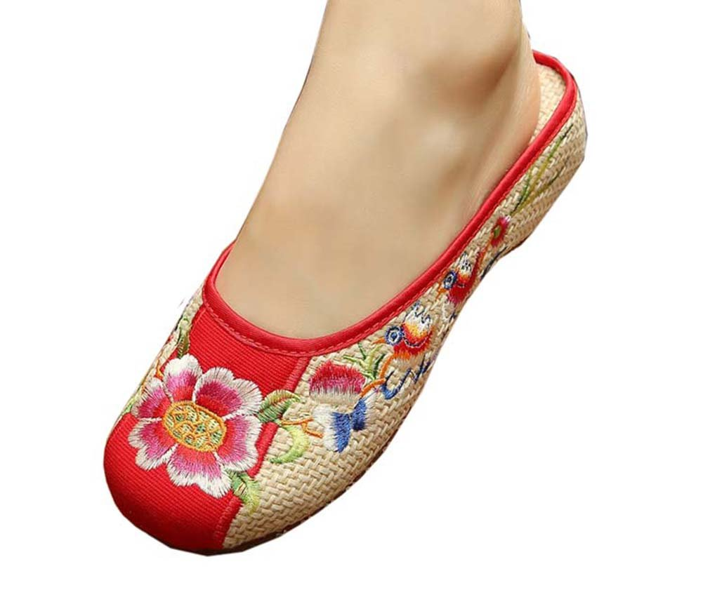 Womens Embroidered Summer Slippers Wedges Sandals Shoes for Cheongsam, 20