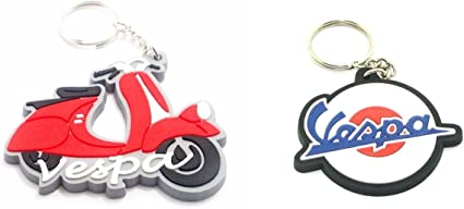 2 RUBBER VESPA MOTORCYCLE KEYCHAIN KEY RING