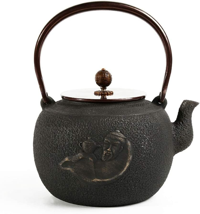 Cast Iron Tea Kettle Cast Iron Teapot Japanese Style Enamel Interior, Stovetop Tea Kettles With Interesting Pattern Teapots (Color : Black1)