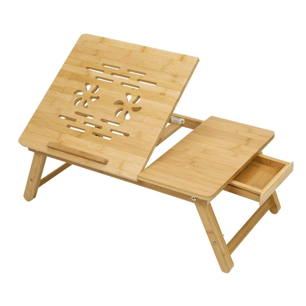 HBL Bamboo Adjustable Lapdesk Foldable Laptop Stand Desk Breakfast Serving Bed Tray Tablet With Drawer by HBL