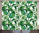 interesting unique kitchen island Ambesonne Leaf Curtains, Romantic Holiday Island Hawaiian Banana Trees Watercolored Image, Living Room Bedroom Window Drapes 2 Panel Set, 108 W X 84 L Inches, Dark Green and Forest Green
